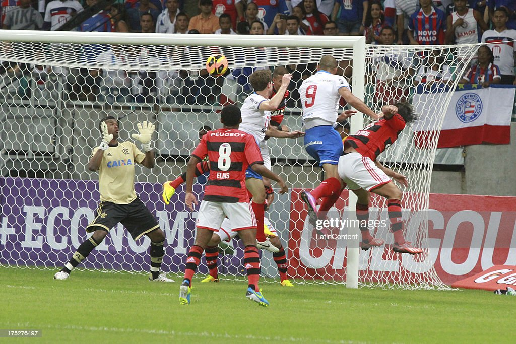 Felipe, goalkeeper of Flamengo in action during a match between Flamengo and Bahia as part of the Brazilian Serie A Championship at Arena Fonte Nova Stadium on July 31, 2013 in Salvador, Brasil.