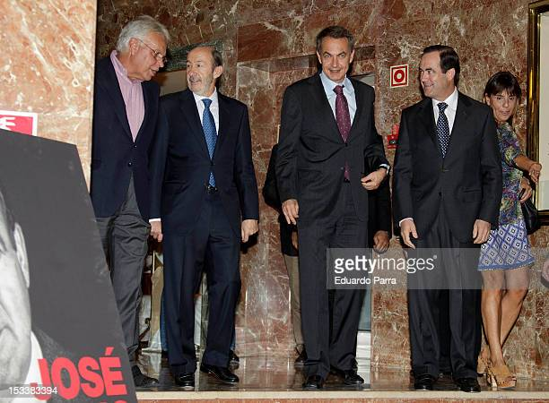 Felipe Gonzalez Alfredo Perez Rubalcaba Jose Luis Rodriguez Zapatero and Jose Bono attend the presentation of the book 'Les voy a contar' the first...