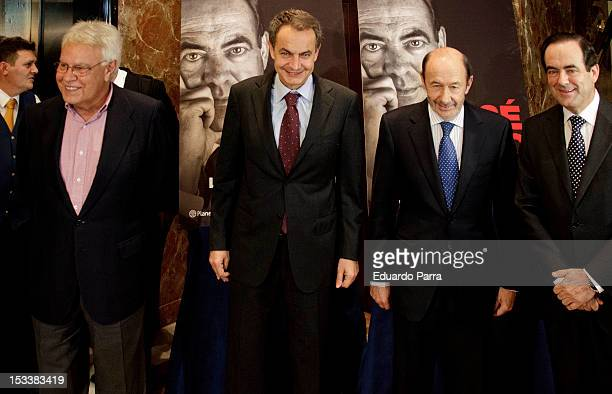 Felipe Gonzalez Jose Luis Rodriguez Zapatero Alfredo Perez Rubalcaba and Jose Bono attend the presentation of the book 'Les voy a contar' the first...