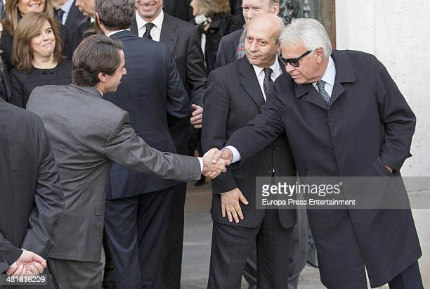 Felipe Gonzalez Jose Maria Aznar and Jose Antonio Wert arrive for the state funeral ceremony for former Spanish prime minister Adolfo Suarez at the...