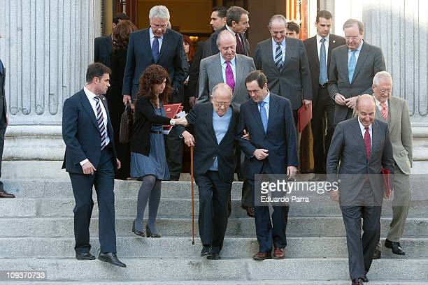 Felipe GonzalezJose Luis Rodriguez Zapatero King Juan Carlos I Santiago Carrillo and Jose Bono attend the ceremony of commemoration of the coup...