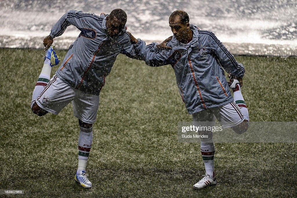 Felipe Jorge Loureiro and Rodrigo Junior Paula Silva of Fluminense fights for the ball during a match between Fluminense and Audax Rio as part of...