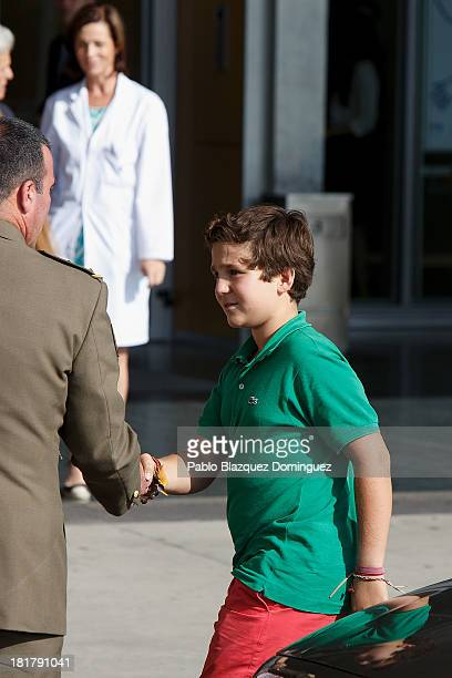 Felipe Juan Froilan arrives at Quiron University hospital where Spain's King Juan Carlos is recovering from an operation on September 25 2013 in...