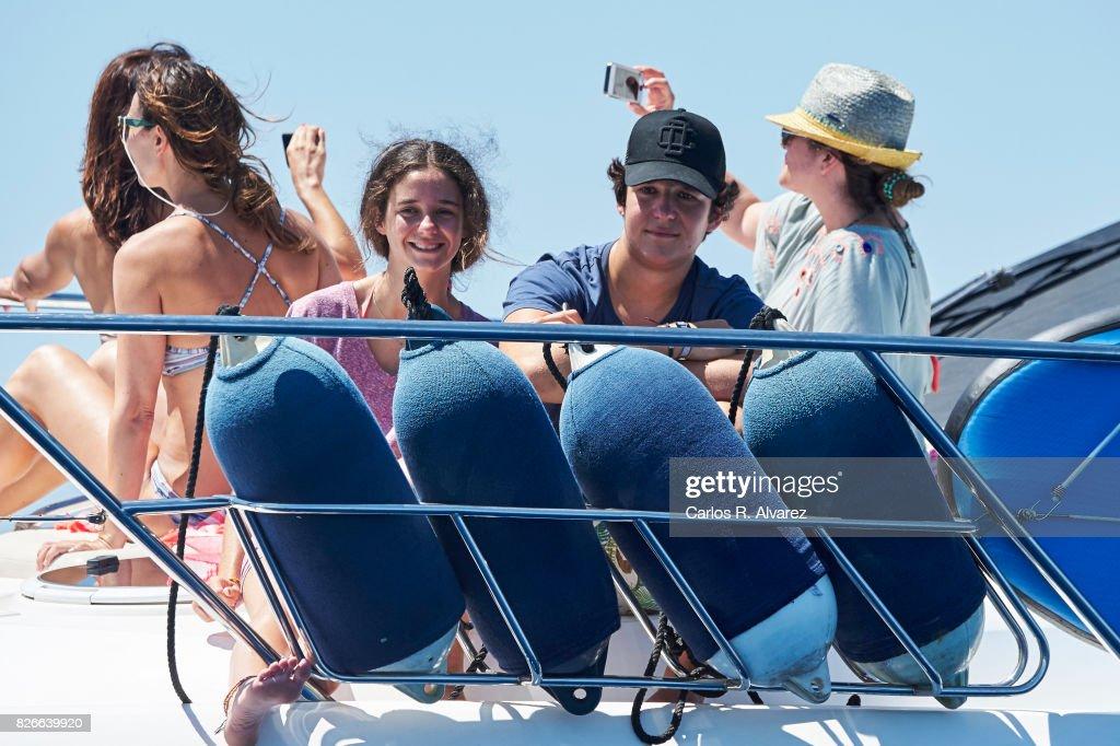 Felipe Juan Froilan de Marichalar y Borbon and sister Victoria Federica de Marichalar y Borbon are seen during the 36th Copa Del Rey Mafre Sailing Cup on August 5, 2017 in Palma de Mallorca, Spain.