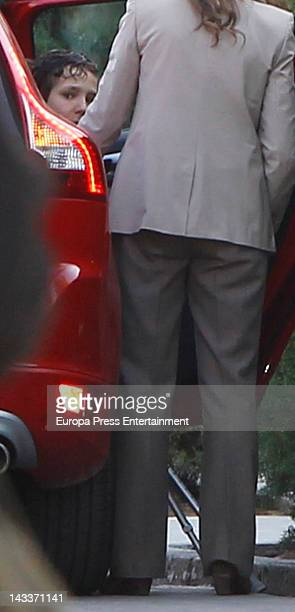 Felipe Juan Froilan Marichalar is seen arriving at the school with Princess Elena of Spain after some days off on April 25 2012 in Madrid Spain The...