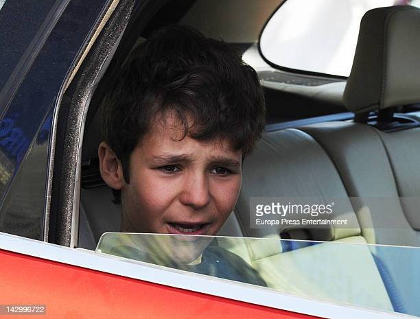 Felipe Juan Froilan Marichalar leaves Quiron Hospital in Madrid on April 16 2012 in Madrid Spain The 13yearold grandson of Spain's King Juan Carlos...