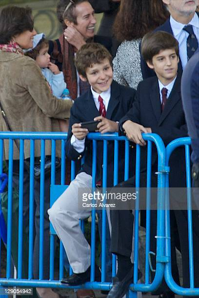 Felipe Juan Froilan of Spanish Royal Family attends the National Day Military Parade on October 12 2011 in Madrid Spain