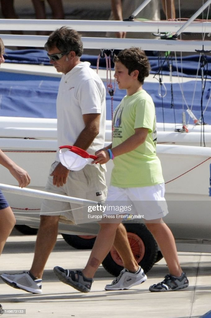 Felipe Marichalar Borbon (R) is seen in the navy club on August 1, 2012 in Palma de Mallorca, Spain. The children are attending sailing classes.