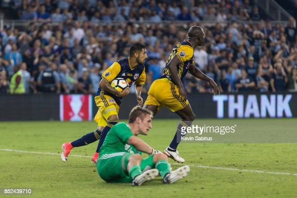Felipe Martins of New York Red Bulls grabs the ball after a goal scored by Bradley WrightPhillips in the US Open Cup Final match against Sporting...