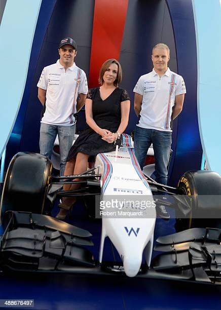Felipe Massa Claire Williams and Valteri Bottas attend the 'Martini Racing' inauguration on May 7 2014 in Barcelona Spain