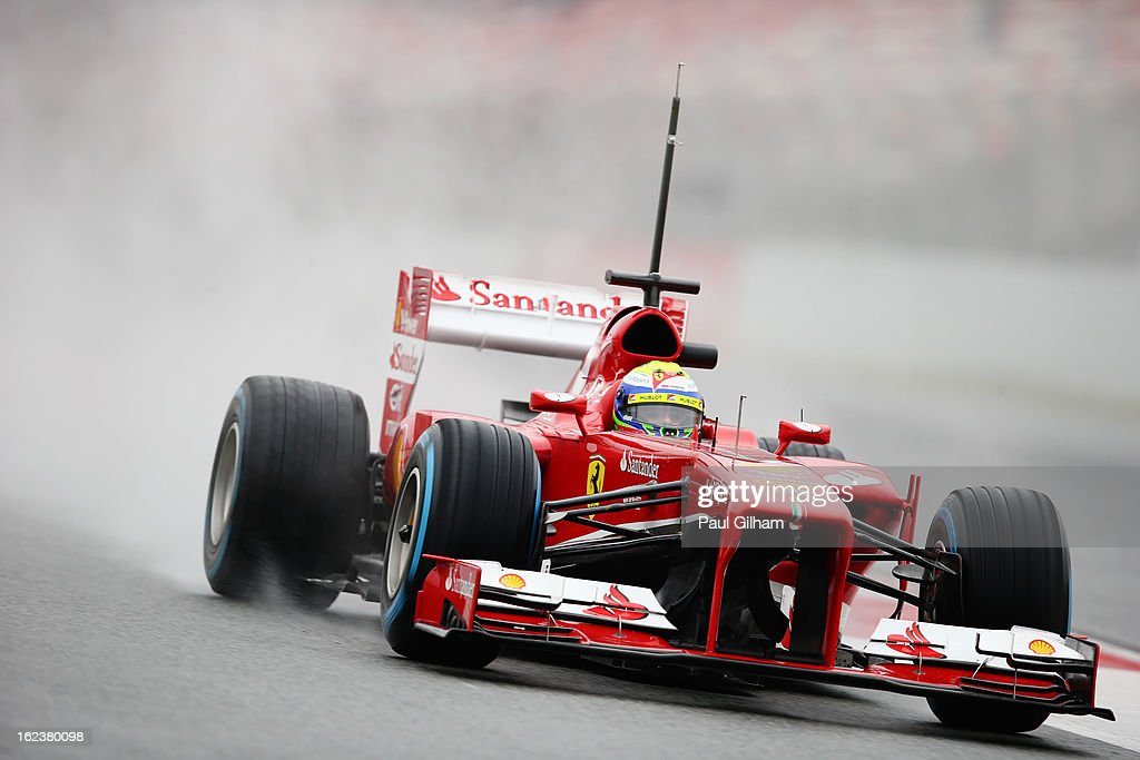 <a gi-track='captionPersonalityLinkClicked' href=/galleries/search?phrase=Felipe+Massa&family=editorial&specificpeople=206660 ng-click='$event.stopPropagation()'>Felipe Massa</a> of Brasil and Ferrari drives during day four of Formula One winter test at the Circuit de Catalunya on February 22, 2013 in Montmelo, Spain.