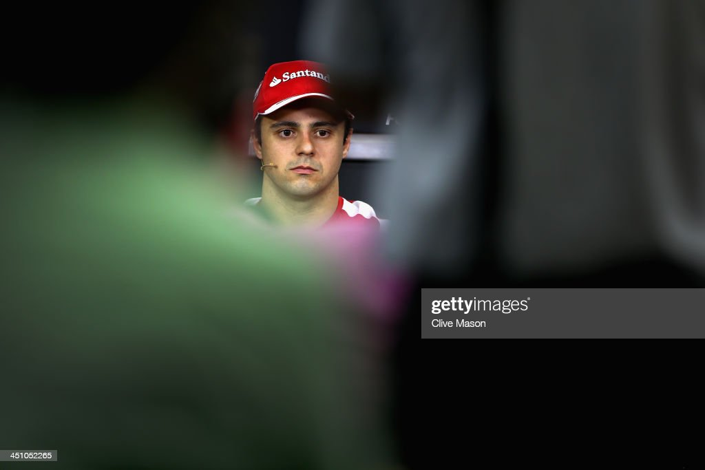 <a gi-track='captionPersonalityLinkClicked' href=/galleries/search?phrase=Felipe+Massa&family=editorial&specificpeople=206660 ng-click='$event.stopPropagation()'>Felipe Massa</a> of Brazil and Ferrari attends the drivers press conference during previews for the Brazilian Formula One Grand Prix at Autodromo Jose Carlos Pace on November 21, 2013 in Sao Paulo, Brazil. The race will be his last for Ferrari before joining Williams for next season.