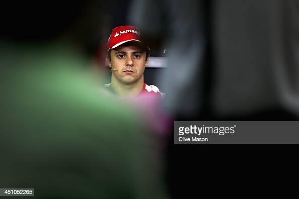 Felipe Massa of Brazil and Ferrari attends the drivers press conference during previews for the Brazilian Formula One Grand Prix at Autodromo Jose...