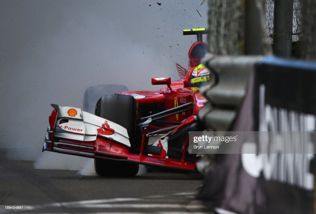<a gi-track='captionPersonalityLinkClicked' href=/galleries/search?phrase=Felipe+Massa&family=editorial&specificpeople=206660 ng-click='$event.stopPropagation()'>Felipe Massa</a> of Brazil and Ferrari crashes at St Devote during the final practice session prior to qualifyingat the Circuit de Monaco on May 25, 2013 in Monte-Carlo, Monaco.