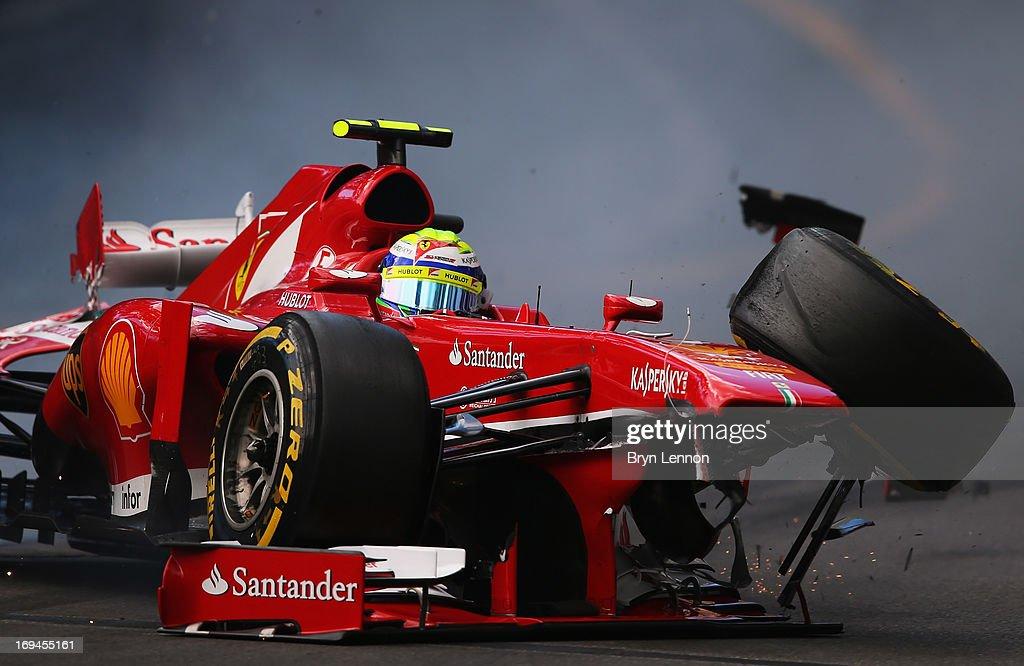 Felipe Massa of Brazil and Ferrari crashes at St Devote during the final practice session prior to qualifying for the Monaco Formula One Grand Prix at the Circuit de Monaco on May 25, 2013 in Monte-Carlo, Monaco.