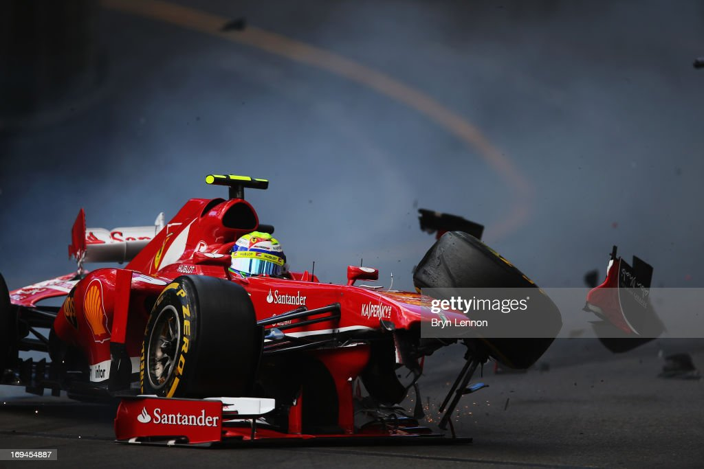 <a gi-track='captionPersonalityLinkClicked' href=/galleries/search?phrase=Felipe+Massa&family=editorial&specificpeople=206660 ng-click='$event.stopPropagation()'>Felipe Massa</a> of Brazil and Ferrari crashes at St Devoteduring the final practice session prior to qualifying for Grand Prix at the Circuit de Monaco on May 25, 2013 in Monte-Carlo, Monaco.