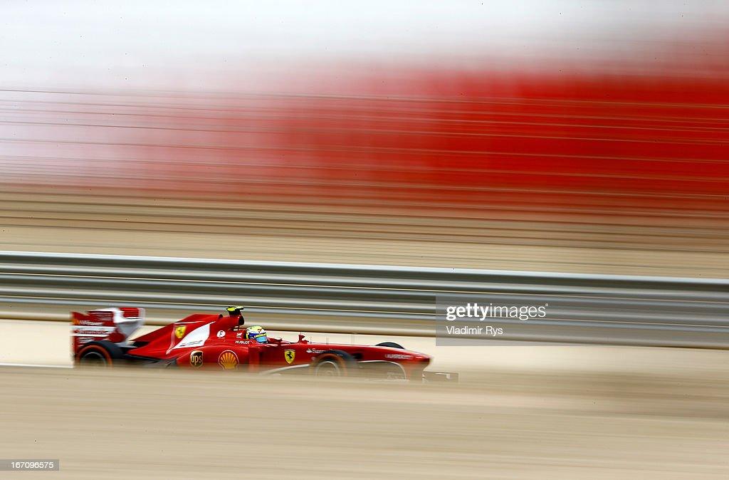 Felipe Massa of Brazil and Ferrari drives during final practice session prior qualifying for the Bahrain Formula One Grand Prix at the Bahrain International Circuit on April 20, 2013 in Sakhir, Bahrain.