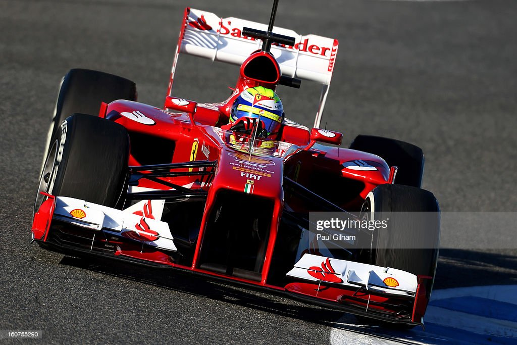 <a gi-track='captionPersonalityLinkClicked' href=/galleries/search?phrase=Felipe+Massa&family=editorial&specificpeople=206660 ng-click='$event.stopPropagation()'>Felipe Massa</a> of Brazil and Ferrari drives during Formula One winter testing at Circuito de Jerez on February 5, 2013 in Jerez de la Frontera, Spain.