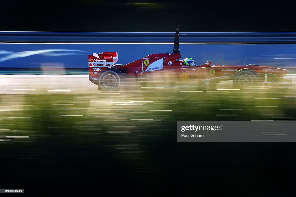 <a gi-track='captionPersonalityLinkClicked' href=/galleries/search?phrase=Felipe+Massa&family=editorial&specificpeople=206660 ng-click='$event.stopPropagation()'>Felipe Massa</a> of Brazil and Ferrari drives during Formula One winter testing at Circuito de Jerez on February 6, 2013 in Jerez de la Frontera, Spain.