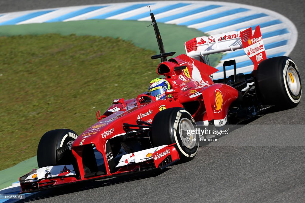 <a gi-track='captionPersonalityLinkClicked' href=/galleries/search?phrase=Felipe+Massa&family=editorial&specificpeople=206660 ng-click='$event.stopPropagation()'>Felipe Massa</a> of Brazil and Ferrari drives during Formula One winter testing at Circuito de Jerez on February 7, 2013 in Jerez de la Frontera, Spain.