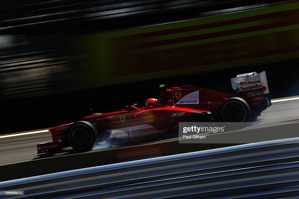 <a gi-track='captionPersonalityLinkClicked' href=/galleries/search?phrase=Felipe+Massa&family=editorial&specificpeople=206660 ng-click='$event.stopPropagation()'>Felipe Massa</a> of Brazil and Ferrari drives during practice for the Brazilian Formula One Grand Prix at the Autodromo Jose Carlos Pace on November 23, 2012 in Sao Paulo, Brazil.
