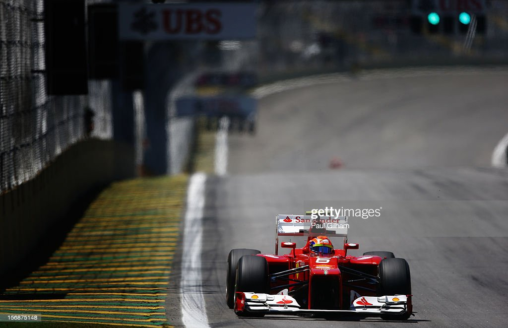 Felipe Massa of Brazil and Ferrari drives during practice for the Brazilian Formula One Grand Prix at the Autodromo Jose Carlos Pace on November 23, 2012 in Sao Paulo, Brazil.