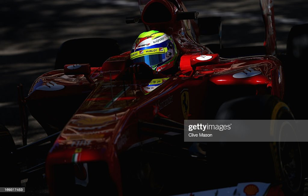 <a gi-track='captionPersonalityLinkClicked' href=/galleries/search?phrase=Felipe+Massa&family=editorial&specificpeople=206660 ng-click='$event.stopPropagation()'>Felipe Massa</a> of Brazil and Ferrari drives during practice for the Monaco Formula One Grand Prix at the Circuit de Monaco on May 23, 2013 in Monte-Carlo, Monaco.
