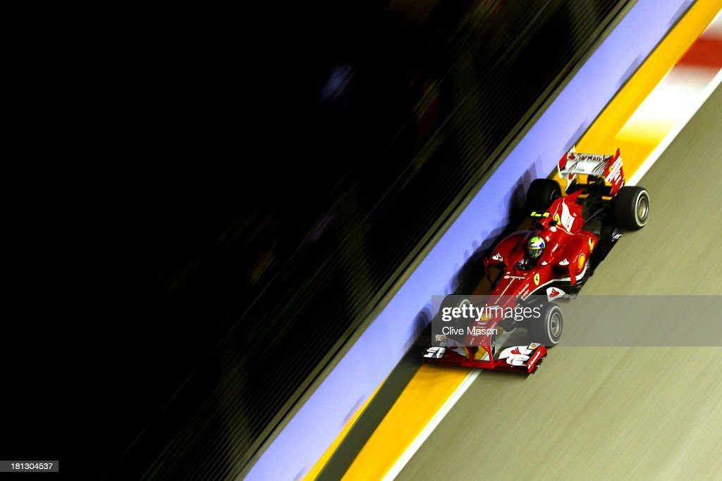 <a gi-track='captionPersonalityLinkClicked' href=/galleries/search?phrase=Felipe+Massa&family=editorial&specificpeople=206660 ng-click='$event.stopPropagation()'>Felipe Massa</a> of Brazil and Ferrari drives during practice for the Singapore Formula One Grand Prix at Marina Bay Street Circuit on September 20, 2013 in Singapore, Singapore.