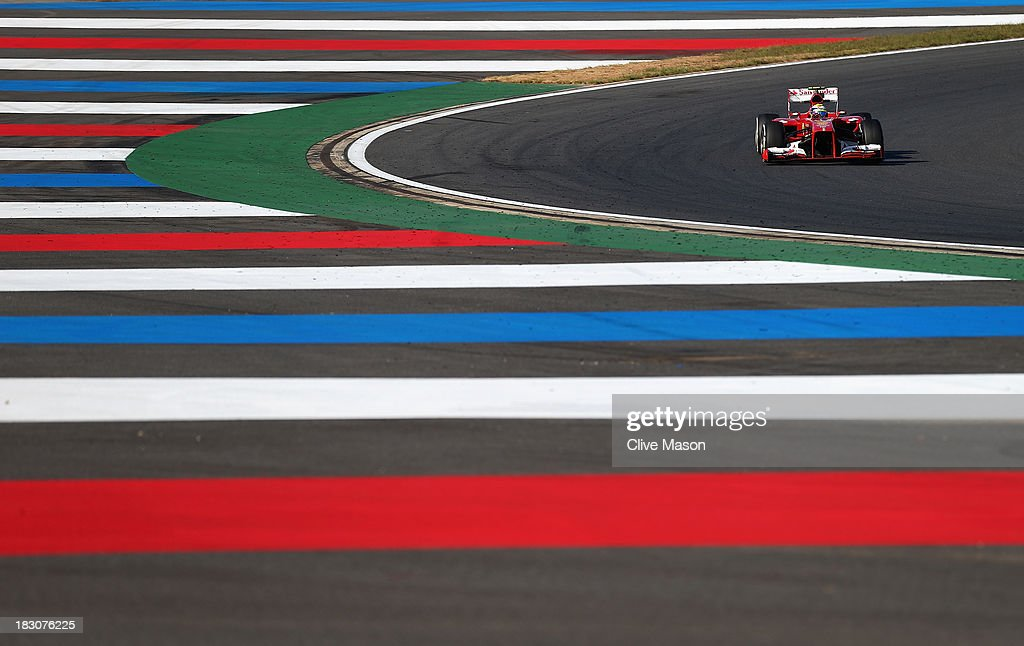 Felipe Massa of Brazil and Ferrari drives during practice for the Korean Formula One Grand Prix at Korea International Circuit on October 4 2013 in...