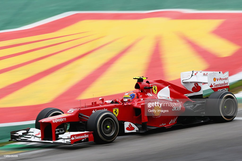 <a gi-track='captionPersonalityLinkClicked' href=/galleries/search?phrase=Felipe+Massa&family=editorial&specificpeople=206660 ng-click='$event.stopPropagation()'>Felipe Massa</a> of Brazil and Ferrari drives during the Brazilian Formula One Grand Prix at the Autodromo Jose Carlos Pace on November 25, 2012 in Sao Paulo, Brazil.