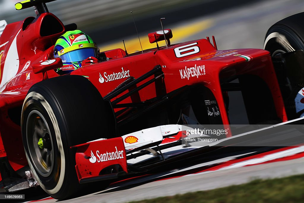 Felipe Massa of Brazil and Ferrari drives during the Hungarian Formula One Grand Prix at the Hungaroring on July 29, 2012 in Budapest, Hungary.