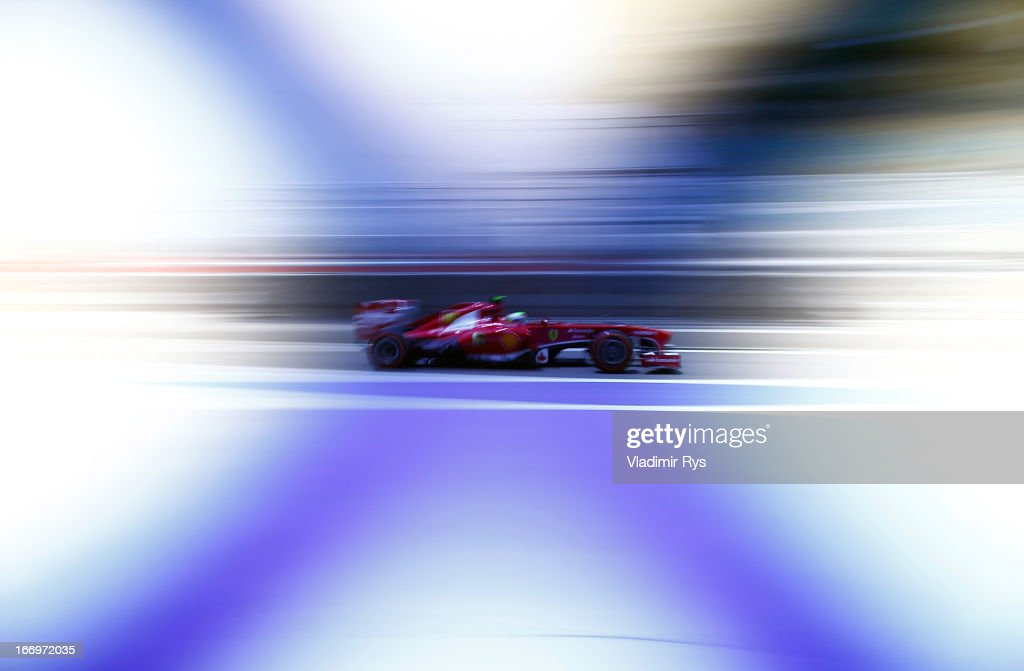 <a gi-track='captionPersonalityLinkClicked' href=/galleries/search?phrase=Felipe+Massa&family=editorial&specificpeople=206660 ng-click='$event.stopPropagation()'>Felipe Massa</a> of Brazil and Ferrari drives his car during practice for the Bahrain Formula One Grand Prix at the Bahrain International Circuit on April 19, 2013 in Sakhir, Bahrain.