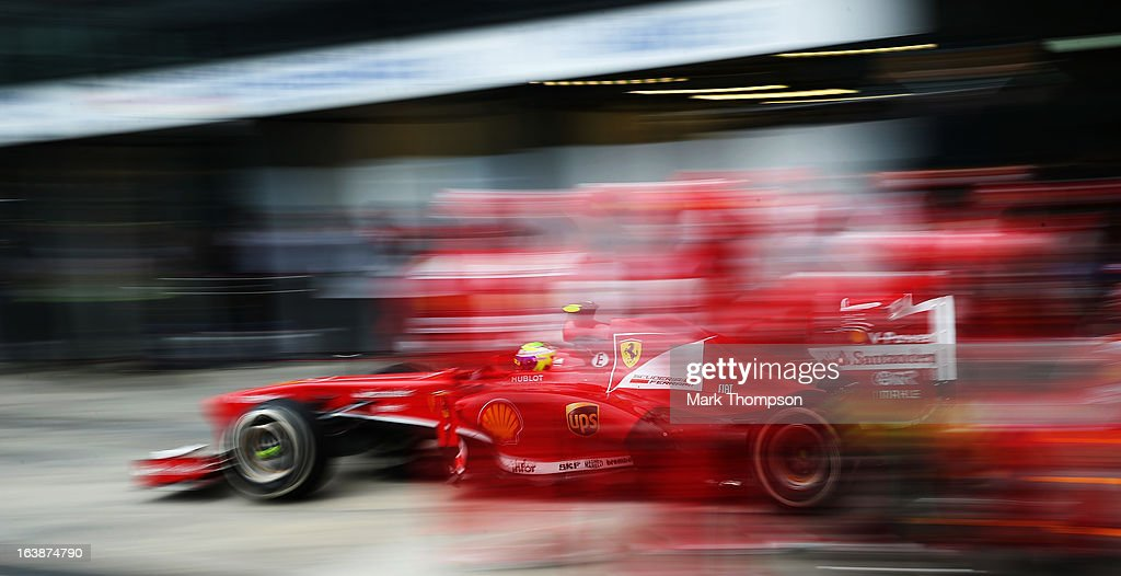 Felipe Massa of Brazil and Ferrari drives in for a pitstop during the Australian Formula One Grand Prix at the Albert Park Circuit on March 17, 2013 in Melbourne, Australia.