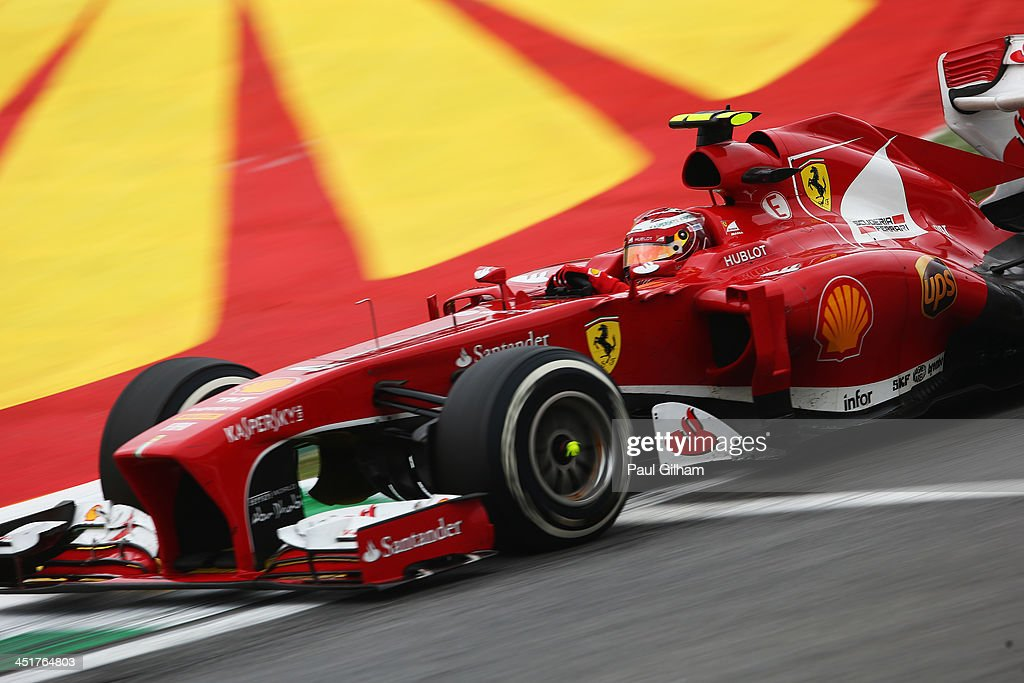 Felipe Massa of Brazil and Ferrari drives in his final race for Ferrari during the Brazilian Formula One Grand Prix at Autodromo Jose Carlos Pace on...