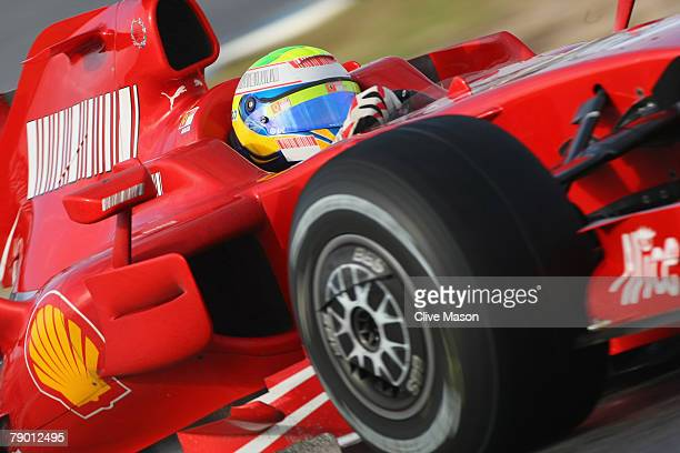 Felipe Massa of Brazil and Ferrari in action during a test at the Circuito de Jerez on January 16 in Jerez de la Frontera Spain