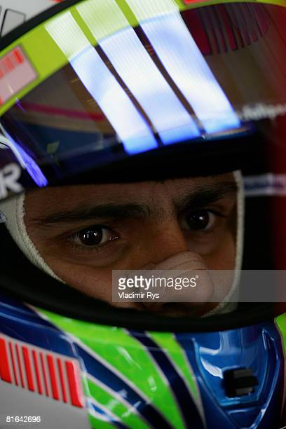 Felipe Massa of Brazil and Ferrari in his garage during practice for the French Formula One Grand Prix at the Circuit de Nevers MagnyCours on June 20...