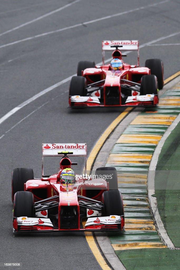 Felipe Massa of Brazil and Ferrari leads Fernando Alonso of Spain and Ferrari during the Australian Formula One Grand Prix at the Albert Park Circuit on March 17, 2013 in Melbourne, Australia.