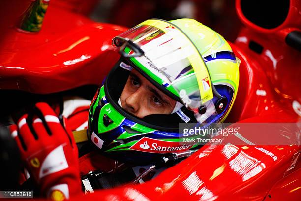Felipe Massa of Brazil and Ferrari prepares to drive during practice for the Australian Formula One Grand Prix at the Albert Park Circuit on March 25...