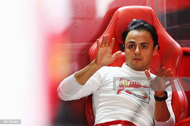 Felipe Massa of Brazil and Ferrari prepares to drive during the final practice session prior to qualifying for the Japanese Formula One Grand Prix at...