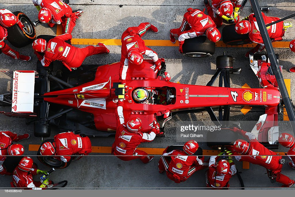 <a gi-track='captionPersonalityLinkClicked' href=/galleries/search?phrase=Felipe+Massa&family=editorial&specificpeople=206660 ng-click='$event.stopPropagation()'>Felipe Massa</a> of Brazil and Ferrari stops for a pitstop during the Malaysian Formula One Grand Prix at the Sepang Circuit on March 24, 2013 in Kuala Lumpur, Malaysia.