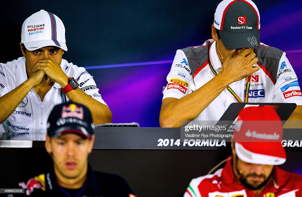 <a gi-track='captionPersonalityLinkClicked' href=/galleries/search?phrase=Felipe+Massa&family=editorial&specificpeople=206660 ng-click='$event.stopPropagation()'>Felipe Massa</a> of Brazil and Williams, <a gi-track='captionPersonalityLinkClicked' href=/galleries/search?phrase=Adrian+Sutil&family=editorial&specificpeople=750787 ng-click='$event.stopPropagation()'>Adrian Sutil</a> of Germany and Sauber, <a gi-track='captionPersonalityLinkClicked' href=/galleries/search?phrase=Sebastian+Vettel&family=editorial&specificpeople=2233605 ng-click='$event.stopPropagation()'>Sebastian Vettel</a> of Germany and Infiniti Red Bull Racing and Fernando Alonso of Spain and Scuderia Ferrari attend the press conference during previews to the Russian Formula One Grand Prix at Sochi Autodrom on October 9, 2014 in Sochi, Russia.
