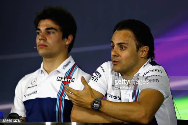Felipe Massa of Brazil and Williams and Lance Stroll of Canada and Williams in the Drivers Press Conference during previews to the Australian Formula...
