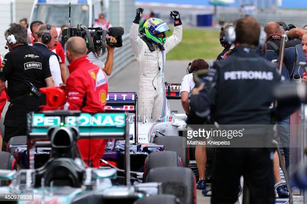 Felipe Massa of Brazil and Williams celebrates claiming pole position during qualifying ahead of the Austrian Formula One Grand Prix at Red Bull Ring...