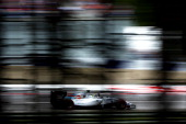 Felipe Massa of Brazil and Williams celebrates in his car after claiming pole position during qualifying ahead of the Austrian Formula One Grand Prix...