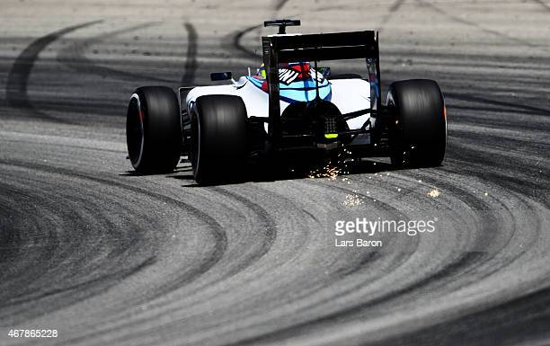 Felipe Massa of Brazil and Williams drives during final practice for the Malaysia Formula One Grand Prix at Sepang Circuit on March 28 2015 in Kuala...