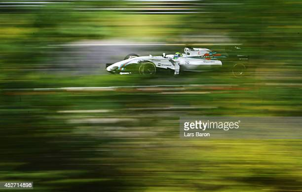 Felipe Massa of Brazil and Williams drives during final practice ahead of the Hungarian Formula One Grand Prix at Hungaroring on July 26 2014 in...