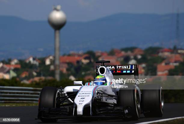 Felipe Massa of Brazil and Williams drives during practice ahead of the Hungarian Formula One Grand Prix at Hungaroring on July 25 2014 in Budapest...