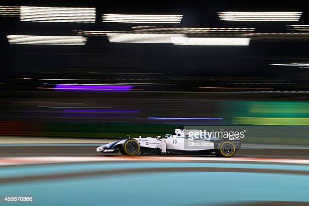 Felipe Massa of Brazil and Williams drives during practice ahead of the Abu Dhabi Formula One Grand Prix at Yas Marina Circuit on November 21 2014 in...
