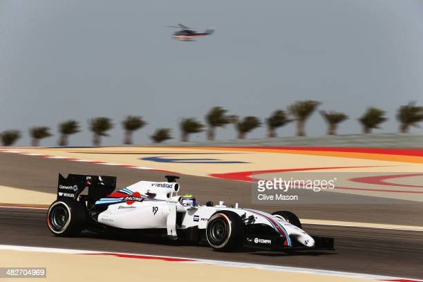 Felipe Massa of Brazil and Williams drives during practice for the Bahrain Formula One Grand Prix at the Bahrain International Circuit on April 4...