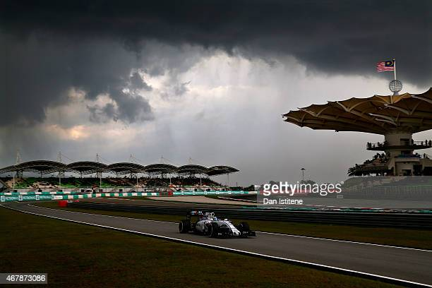Felipe Massa of Brazil and Williams drives during qualifying for the Malaysia Formula One Grand Prix at Sepang Circuit on March 28 2015 in Kuala...
